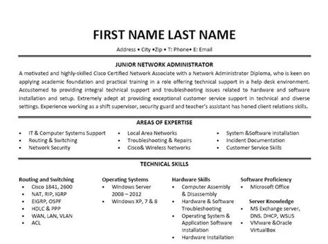 Resume Sle Junior Network Engineer network administrator resume sle 28 images network