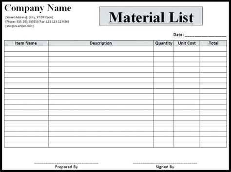 construction material list template construction materials list template materials list