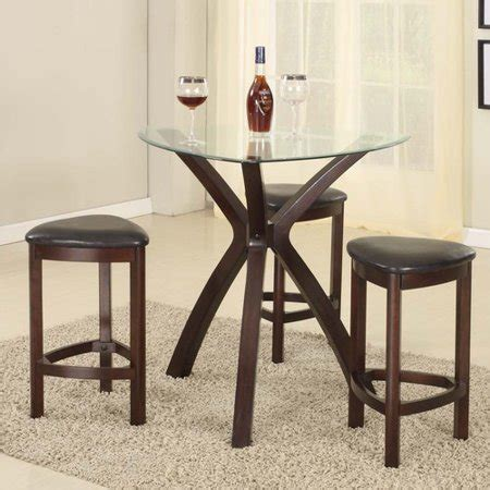 Solid Wood Bar Table And Stools by Roundhill Furniture 4 Triangle Solid Wood Bar Table