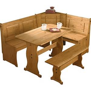 3 corner bench nook pine table and bench set
