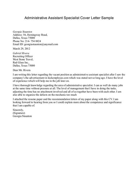 Cover Letter For Executive Administrative Assistant Sample