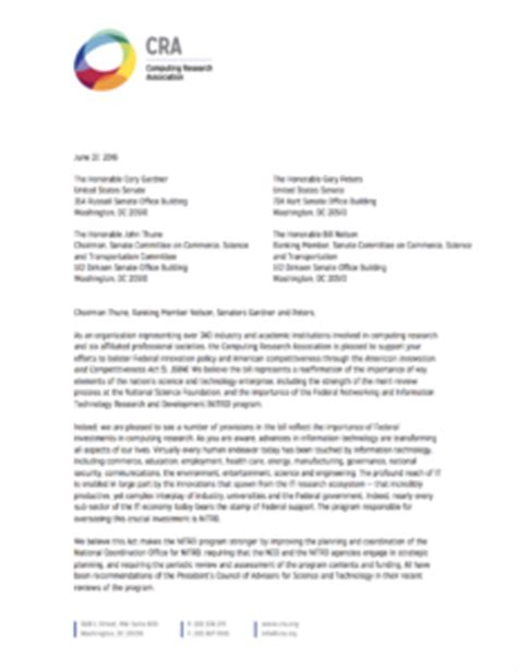 Letter Cra Cra Releases Letter Endorsing American Competitiveness And Innovation Act Govaffairs