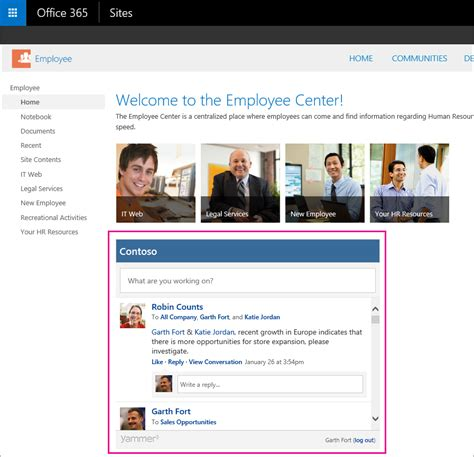 make calendar my homepage embed a yammer feed into a sharepoint site office 365