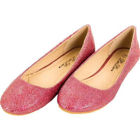 new womens glitter ballet flats slip on shoes sparkle