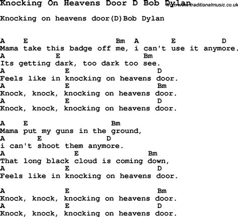 Knock Knocking On Heavens Door Lyrics by Bob Knockin On Heavens Door Chords And Lyrics