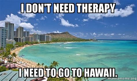 Hawaii Memes - i don t need therapy i need to go to hawaii make a meme