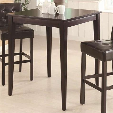 Counter Height Bistro Table Bar Height Square Pub Table In Cappuccino 102587