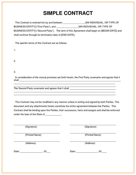 contract template basic contract template blank contract template templates