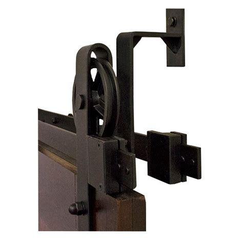 Rolling Barn Door Hardware By Passing Hook Black Rolling Barn Door Hardware Kit With 5 In Wheel Nt140008w08bp The