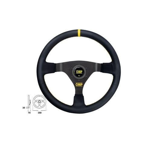 volante omp volant omp rallye wrc en cuir 3 branches noires repere jaune