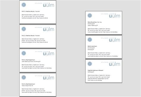 Muster Visitenkarten Corporate Design Entwurf Universit 228 T Ulm
