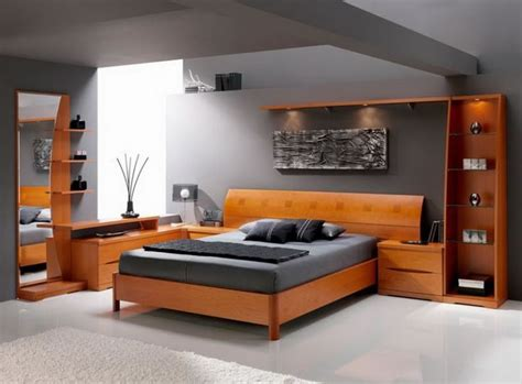 mesmerizing master bedroom design with laminate teak bedroom furniture in grey wall paint color