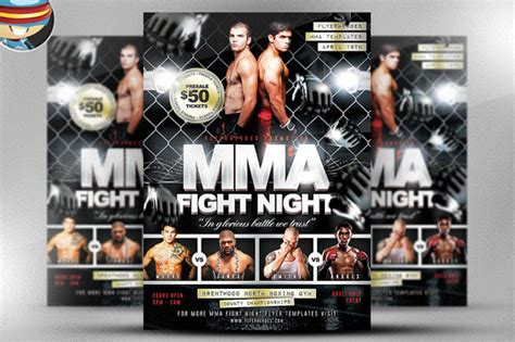 Mma Fight Night Flyer Template Flyer Templates On Creative Market Mma Flyer Template