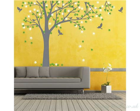 Wall Sticker Green Maple Leaves Ay 9145 Uk 60 Cm X 90 Cm maple tree tree leaves birds wall decal for bedroom office vinyl birds leaves tree wall decal