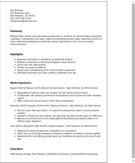 Resume Sle For Utility Engineering Professional Utility Worker Templates To Showcase Your Talent Myperfectresume