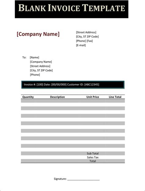download blank invoice template 3 for free tidyform