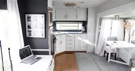 Before And After Painted Kitchen Cabinets by Fabulous 5th Wheel Camper Makeover