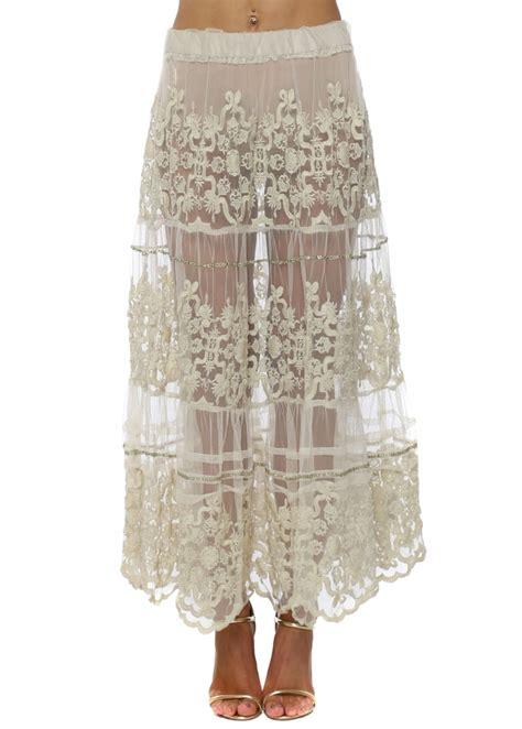 Antika Maxy antica sartoria beige lace maxi skirt