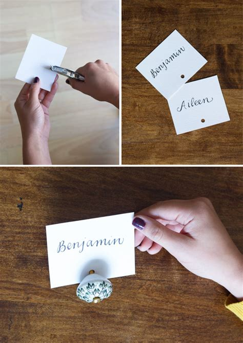 diy picture place card holder tell love and party diy drawer knob place card holders at home in love