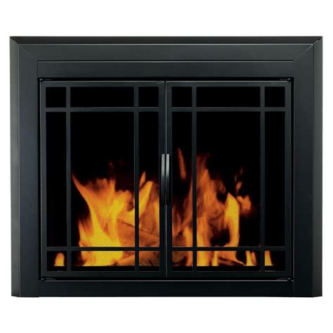 How To Use A Fireplace With Glass Doors by Shop Pleasant Hearth Easton Black Medium Cabinet Style