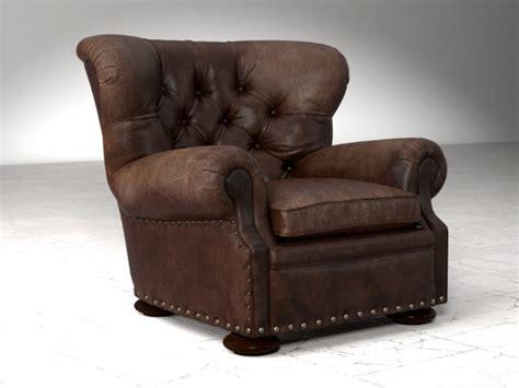 restoration hardware churchill leather recliner with nailheads churchill leather chair with nailheads 3d model