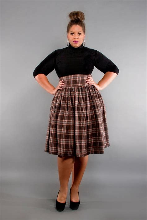 jibri plus size high waist flare skirt earthy plaid