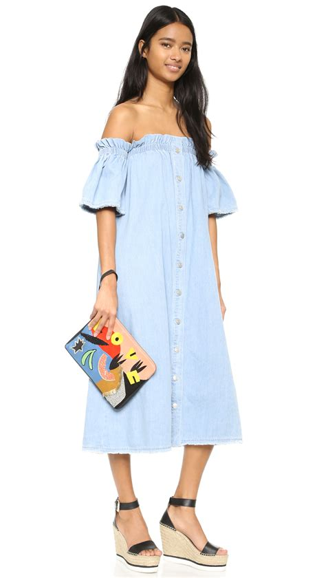 Shoulder Denim Dress Light Blue Blue sjyp the shoulder denim dress in blue lyst