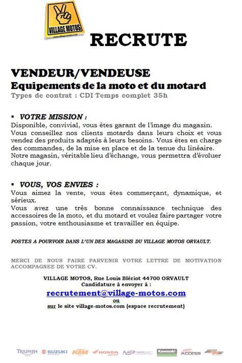 Lettre De Motivation Recherche D Emploi Vendeuse Motoaxxe Recrute