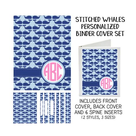 printable 3 ring binder covers stitched whales printable binder cover set with front back