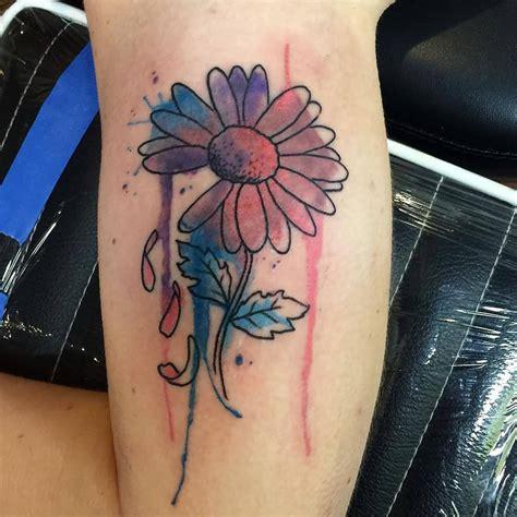 quarter sleeve daisy tattoo 31 watercolor daisy tattoos