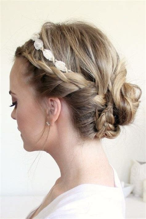 the triple braided bun with flower crown hairstyle design page 4 of braided updo with a flower crown 183 how to style a crown