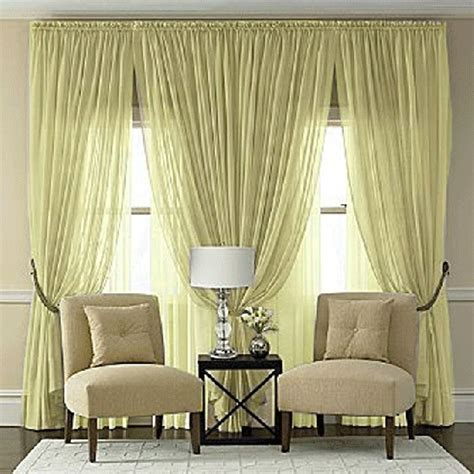 double window treatment ideas bing images splendor maize yellow batiste curtain panel