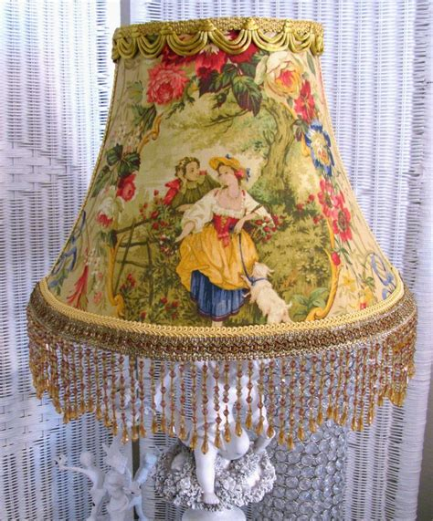 Decoupage Lshade With Fabric - 12 quot l shade gold fragonard cameo country toile