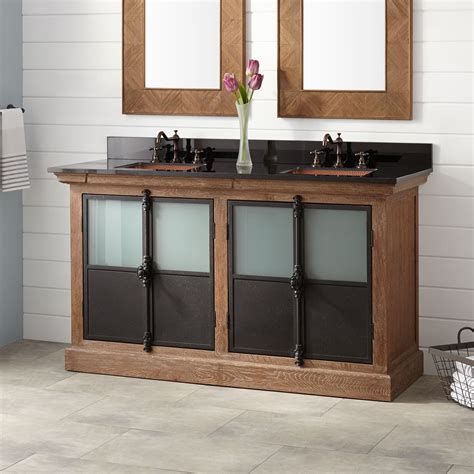 60quot garton oak double vanity for rectangular undermount