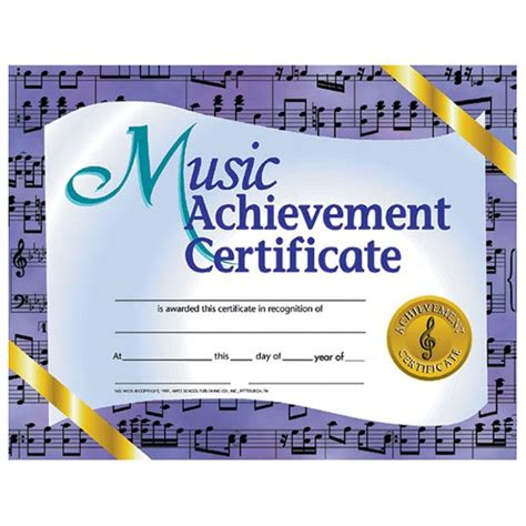 hayes publishing va536 music achievement certificate