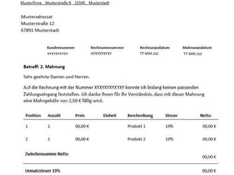 Mahnung Muster Excel 2 Mahnung F 252 R Freiberufler Vorlage Muster