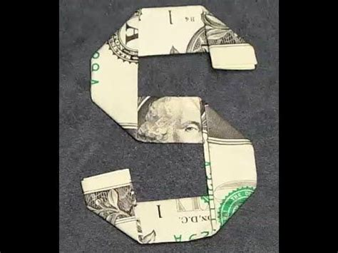 Dollar Bill Origami Letters - fold origami dollar bill alphabet letter s