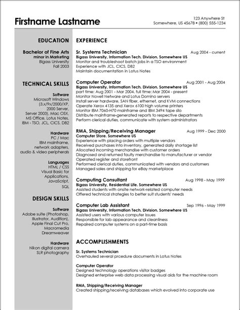Exle Resume by Resume Excel Skills Best Resume Gallery