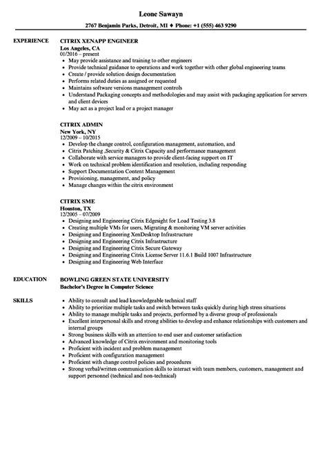 citrix administrator resume sle citrix resume sles velvet