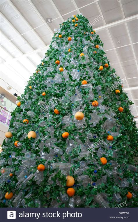 christmas tree made using recycled empty mineral water