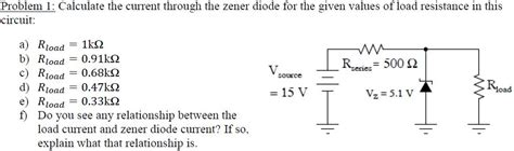 calculating diode bulk resistance calculate the current through the zener diode for chegg