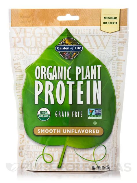 Garden Of Almond Butter Protein Organic Plant Protein Smooth Unflavored 8 0 Oz 226 Grams