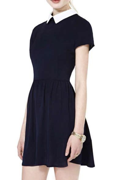 Sleeve Contrast Collar Dress contrast collar sleeve dress with gathered waist