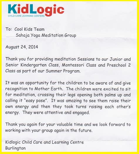 Service Learning Thank You Letter Kidlogic Child Care Learning Centre Is Teaming Up With Sahaja Meditation Cool