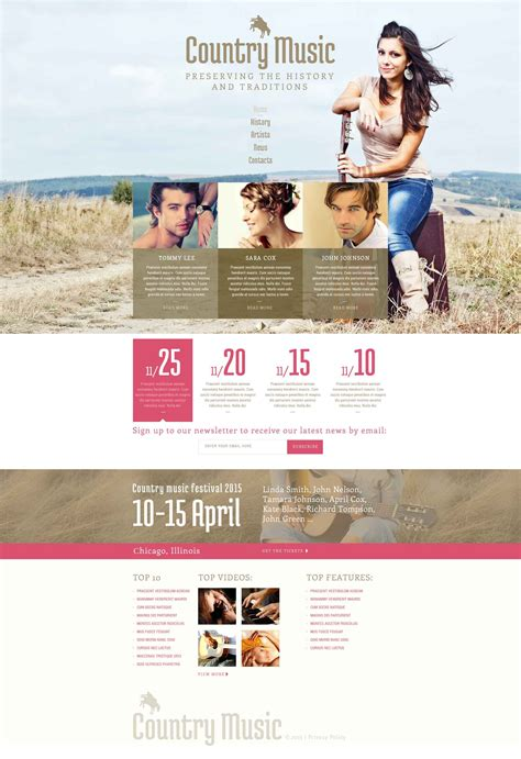 Country Music Fan Club Website Template 52716 Country Website Template