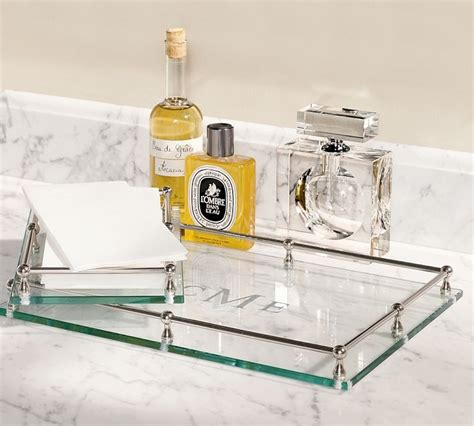 glass bathroom tray glass accessories tray with monogram master bath