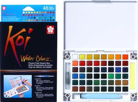 Koi Water Color Pocket Set 48 koi water colors pocket field sketch box color
