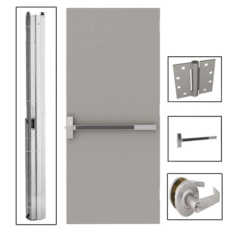 l i f industries 36 in x 80 in flush gray steel commercial door with hardware ukx3680r the