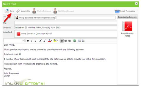 Email Template For Sending Quotation To Client Send Your First Quote Servicem8 Help