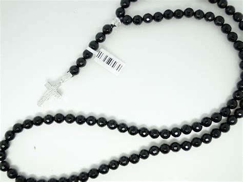 mens rosary genuine necklace chain black onyx 32